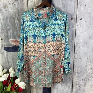 Johnny Was 100 % Silk Blouse/Tunic Sz Small